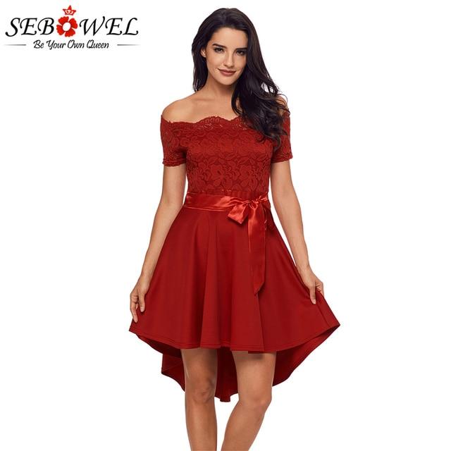 66d7aa4c257 Sebowel Off Shoulder Peplum Lace Dress Vintage Women Summer Rockabilly  Party Dresses Short Sleeve Sexy Mini Dress Ropa Mujer