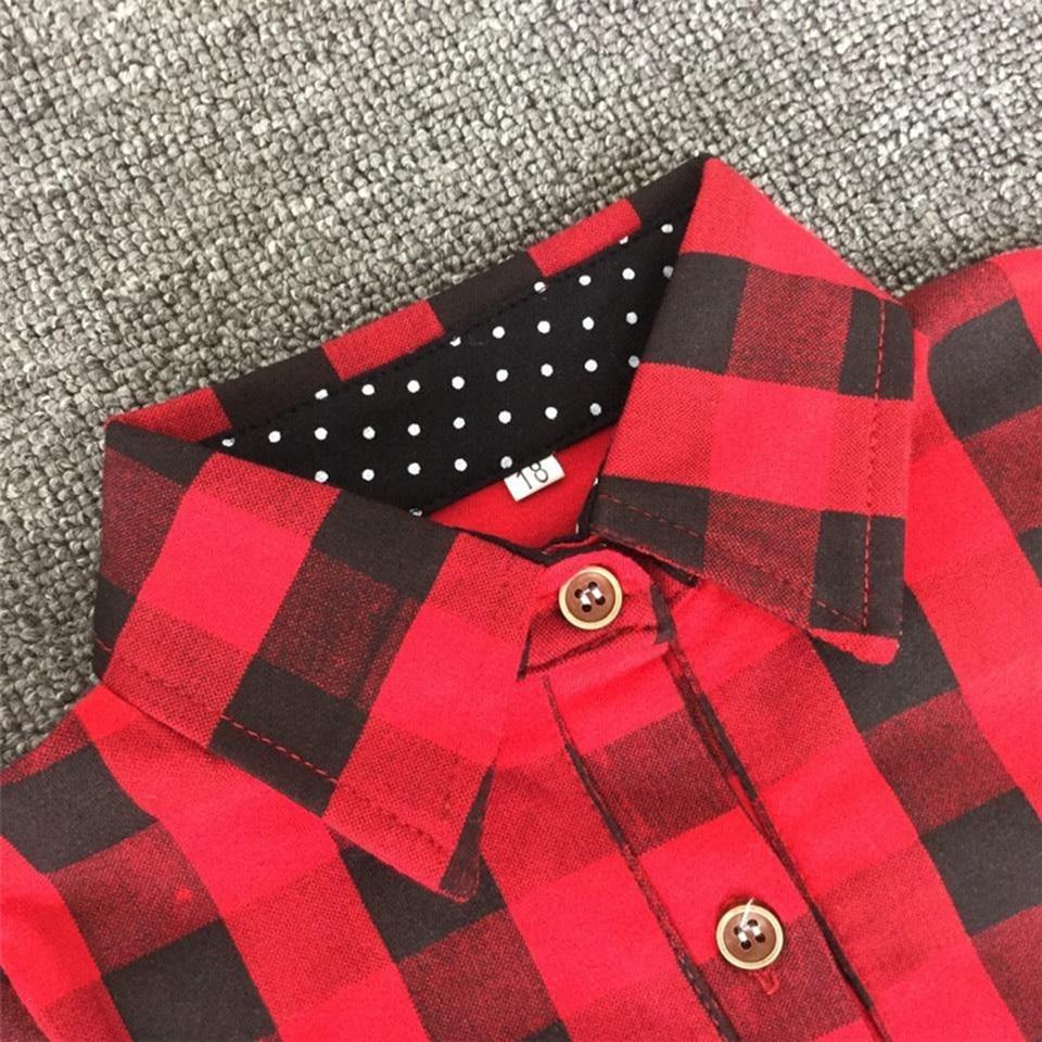 Baby Girls Boys Christmas Long Sleeve Shirt Girl Red Plaid Tops Kids - Children's Clothing - Photo 5