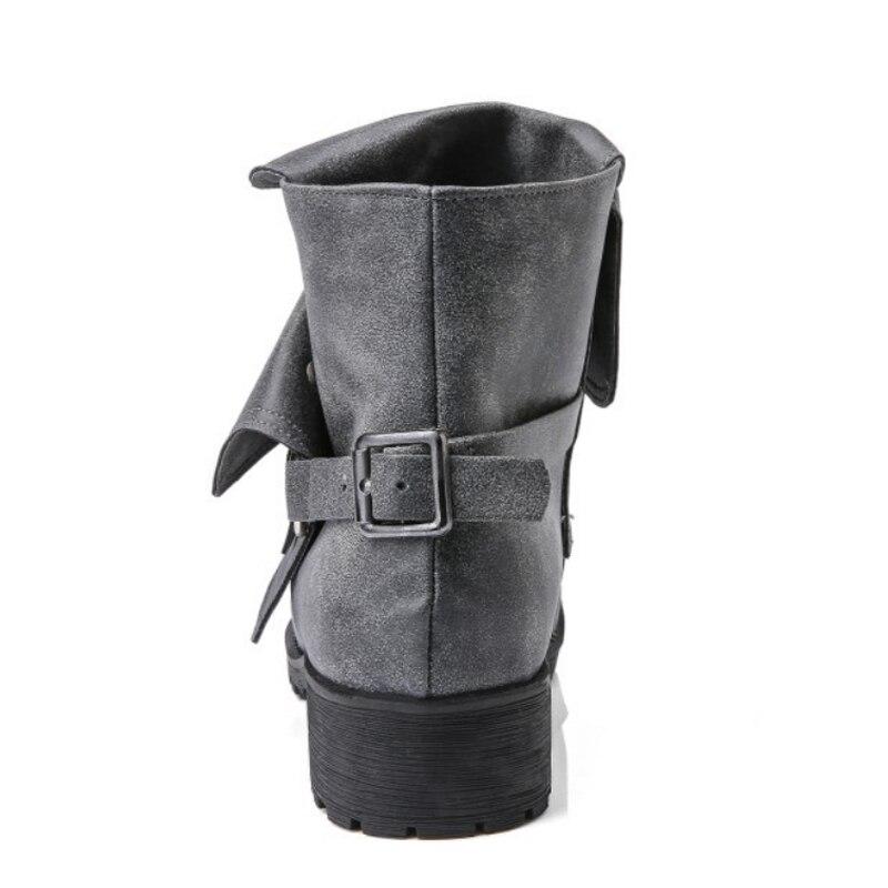 En Vtota Femme Noir Chaussures Vintage juhongse Cuir Automne Femmes Boucle gris Britannique Métal Hiver dérapage Bottes kaqise Anti Cheville dfwBqf
