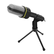 Professional 3.5mm Wired Handheld Vocal Studio Microphone Mic With Stand Mikrofon For Skype Desktop PC Tablet Karaoke Promotion