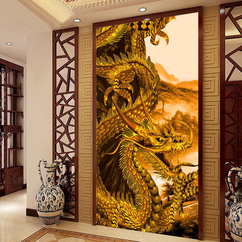 Golden dragon wallpaper custom photo wallpaper 3d of wall for Dragon mural for wall