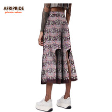 2018 summer casual wide leg pants for women african print AFRIPRIDE private custom mid-calf length casual women pants A722111 mid calf flower print straight womens pants