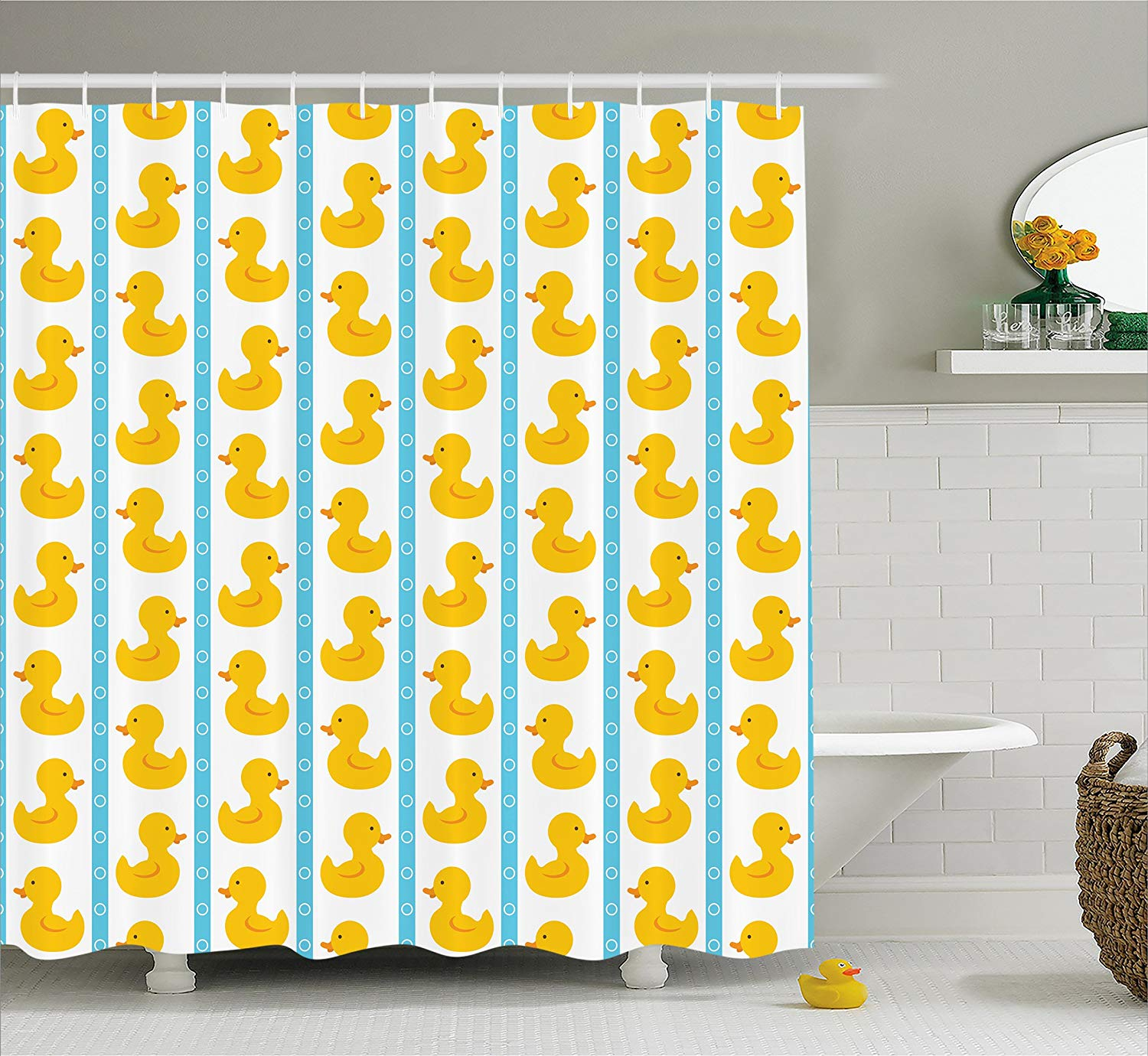 Us 12 61 31 Off Rubber Duck Shower Curtain Yellow Duckies With Blue Stripes Baby Nursery Play Toys Pattern Fabric Bathroom Set Hooks In
