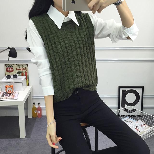 2016 Autumn pullover knit round neck vest for Women Korean style ...