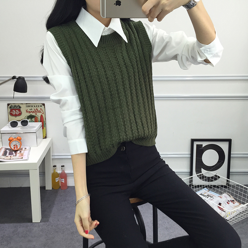 2020 Spring  Autumn Pullover Knit Round Neck Vest For Women Korean Style Fashion Knitted Sleeveless Pullover Sweater