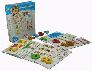 Деревянные цифры Цифровые Карты детские игрушки сопряжение количество пазлов дошкольное образование игрушка