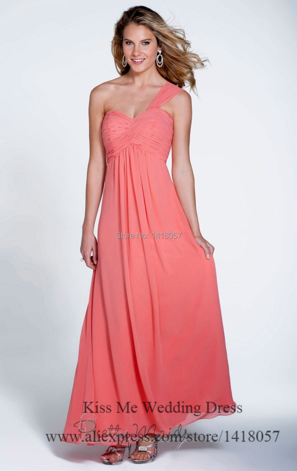 Popular One Shoulder Coral Bridesmaid Dresses-Buy Cheap One ...