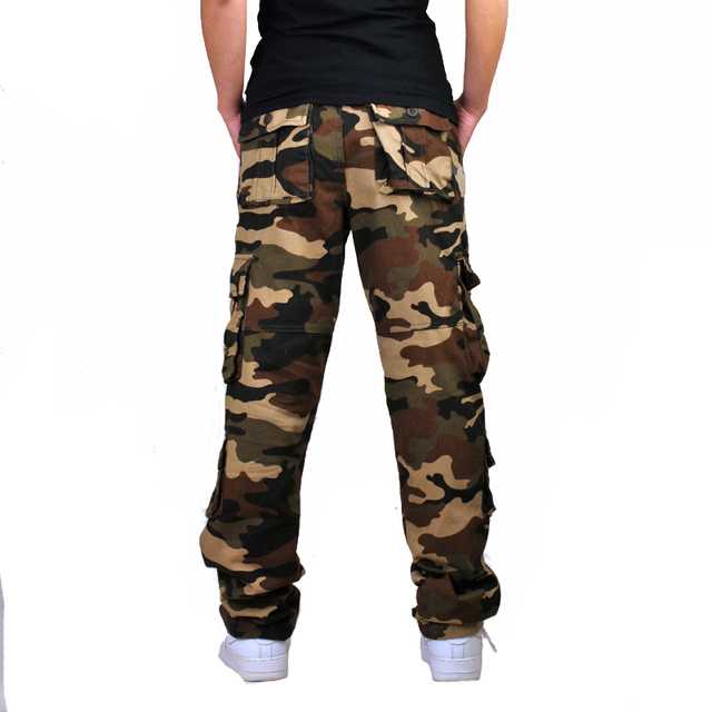 Mens Camouflage Baggy Cargo Pants Military Loose Fit Multi-pocket Casual Cotton Work Straight Tactical Overalls Trousers 2
