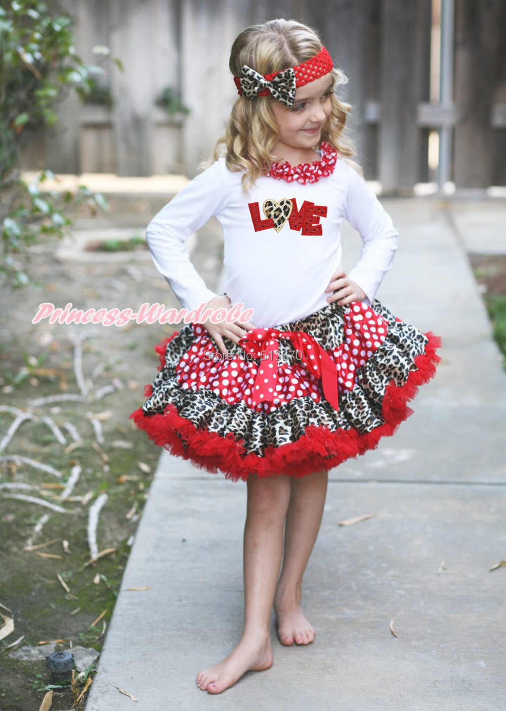 Valentine's Day Red Sparkle Love White Top Leopard Minnie Pettiskirt Outfit 1-8Y MAPSA0352 xmas leopard minnie dots red pettiskirt with christmas minnie print white long sleeve top with minnie dots lacing mamw413