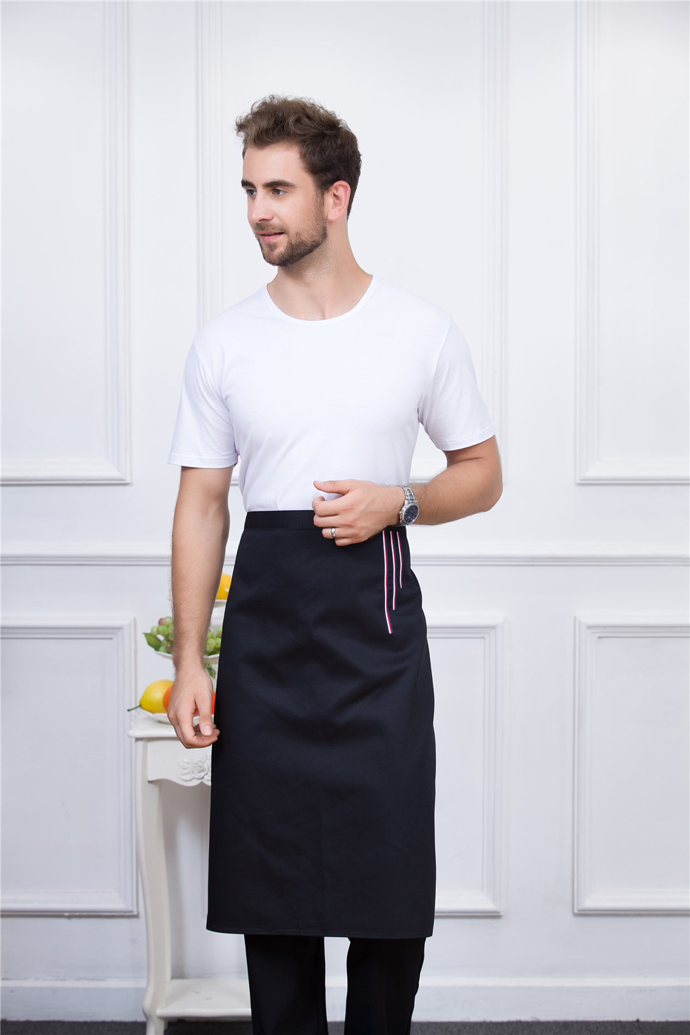 2PCS X Unisex Cooking Aprons Chef Apron,Black Professional Chef Kichen Apron for