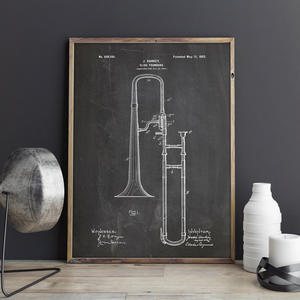 Slide Trombone,Jazz art poster,picture prints,poster,Music room decor,vintage print,blueprint,gift idea, music Decorations