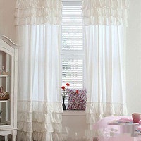 Free shipping ruffles cake layers rod pocket curtain for living room white pink шторы lotus leaf edge princess cortinas