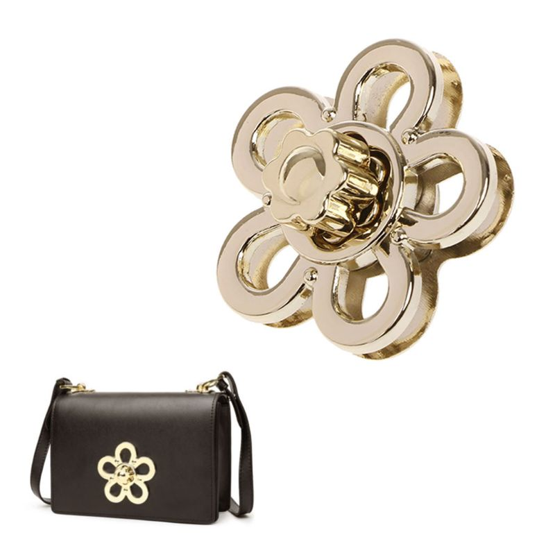 New Cute 1 Pc Flower Shape Clasp Turn Lock Twist Locks Metal Hardware For DIY Handbag Shoulder Crossbody Bag Purse Accessories