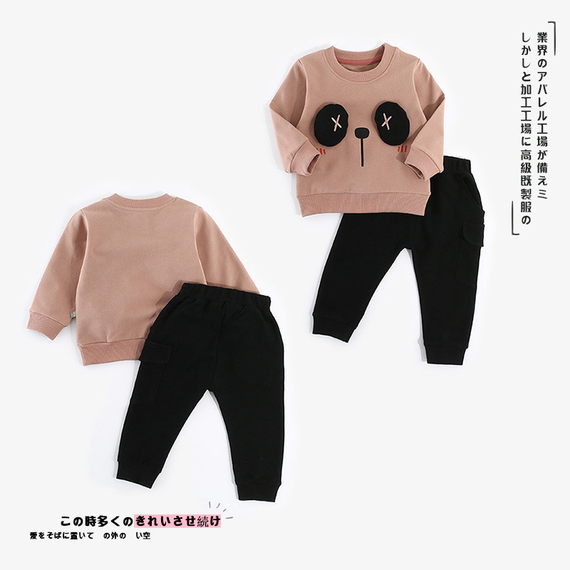Baby Sets 2018 Autumn Infant T Shirt And Pants Cartoon Three-dimensional Panda Children's Clothes