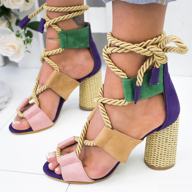 New Women Sandals Lace Up Summer Shoes Woman Heels Sandals Pointed Fish Mouth Gladiator Sandals Woman Pumps Hemp Rope High Heels