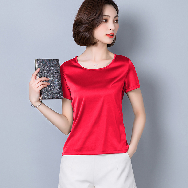 O-Neck Fashion Woman Blouses 2018 Plus Size Women Clothing Solid Satin Imitated Silk Basic Bottoming Shirts Summer Tops Femme 2