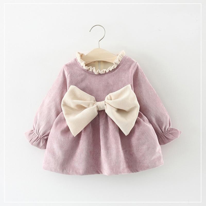 цена на Autumn Winter Long Sleeved Baby Infants Girls Kids Dresses Roupas Bow Ruffles Princess Party Tutu Pleated Dress Vestidos S7353