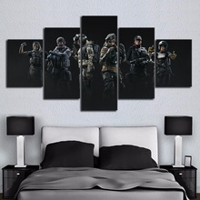 5 Piece Canvas Painting Rainbow Six Video Games Poster Art HD Pictures for Wall Decor