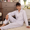 Men's Knitted Cotton Pajamas Suit Wholesale Colar Cardigan Plaid Long Sleeve Nightclothes Sleepwear Nightgown