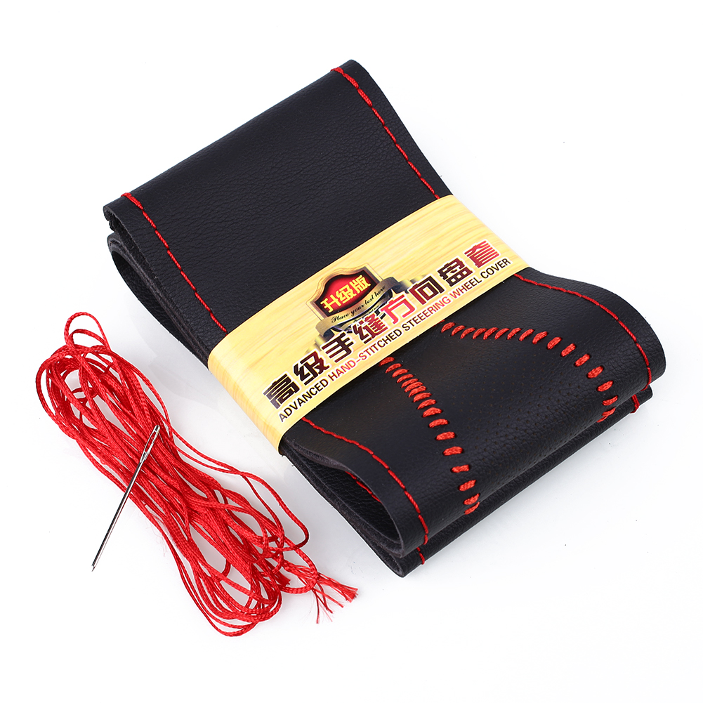 Anti Slip Soft Leather Car Steering Wheel Cover With Needles And Wire Automobile