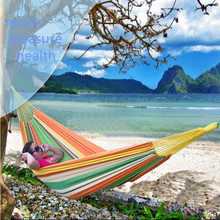 Cotton double hammock camping Canvas fabric Chromatic stripe Ocean style 150kg bearing Thicken hammock