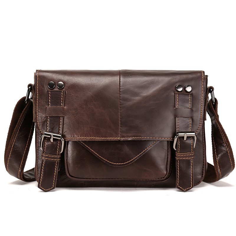 YISHEN Casual Vintage Men Messenger Bags Oil Wax Genuine Leather Male Crossbody Bags Fashion Business Men Shoulder Bags LS8895
