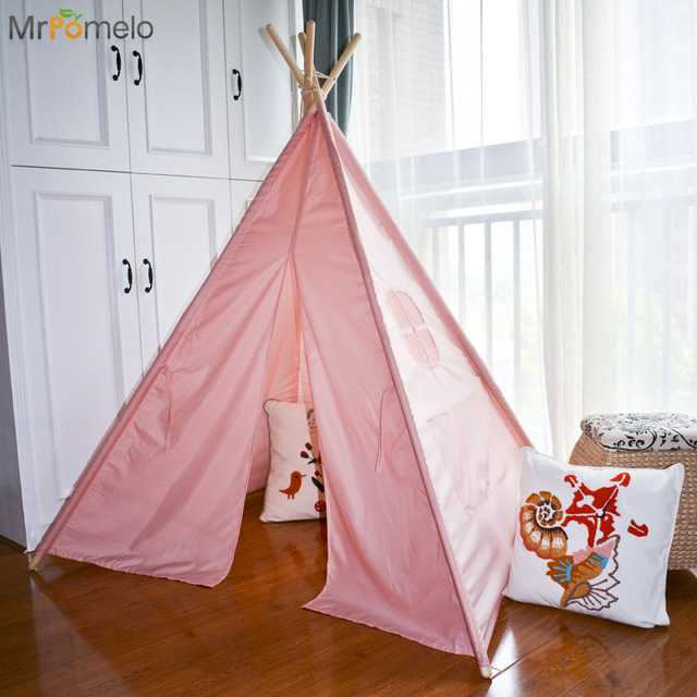 MrPomelo Indian Children Teepee Kids Solid Color Tents 4 Wooden Poles Play Tent For Baby House & MrPomelo Indian Children Teepee Kids Solid Color Tents 4 Wooden ...