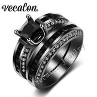 Vecalon 2016 Brand New Wedding Band Ring Set for Women 2ct Black 5A Zircon cz 10KT Black Gold Filled Female Engagement ring