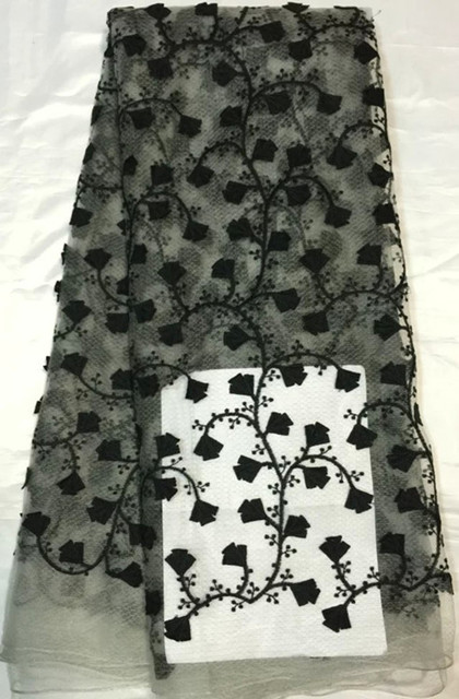 New coming black flower embroidery African net lace fabric French tulle  lace for evening dress QN37-1 c0994d9077e4