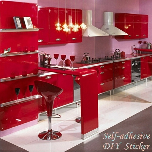 Rojo autoadhesivo DIY Adhesivos vinilo wallpaper rollo para Muebles ...
