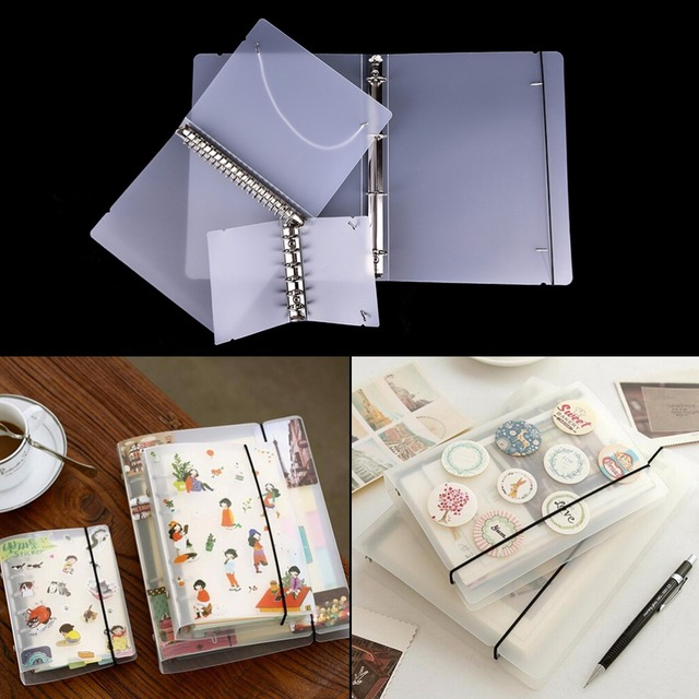 1xPlastic Clip File Folder Classic Transparent Simple Notebook Loose Leaf Ring Binder Diary Planner Cover Stationery