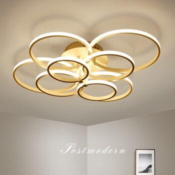 Aluminium Moderne LED Decke kronleuchter für wohnzimmer Decke installation Braun/Weiß Fernbedienung kronleuchter beleuchtung