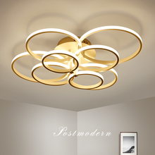 אלומיניום מודרני LED תקרת נברשת לסלון תקרת התקנה חום/לבן שלט רחוק נברשת תאורה