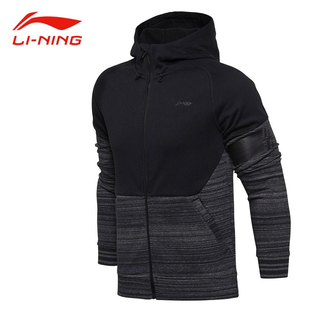 Li-Ning Men Autumn Basketball Hoodie Sweater Warm Comfort Patchwork Letter Armband Hooded Cardigan LINING Sports Coat AWDM635