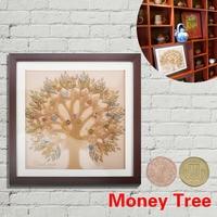 WR moderna sala imagen decorativa de la pared árbol del dinero W/metal euro cent monedas pared arte pintura dinero SPINNER