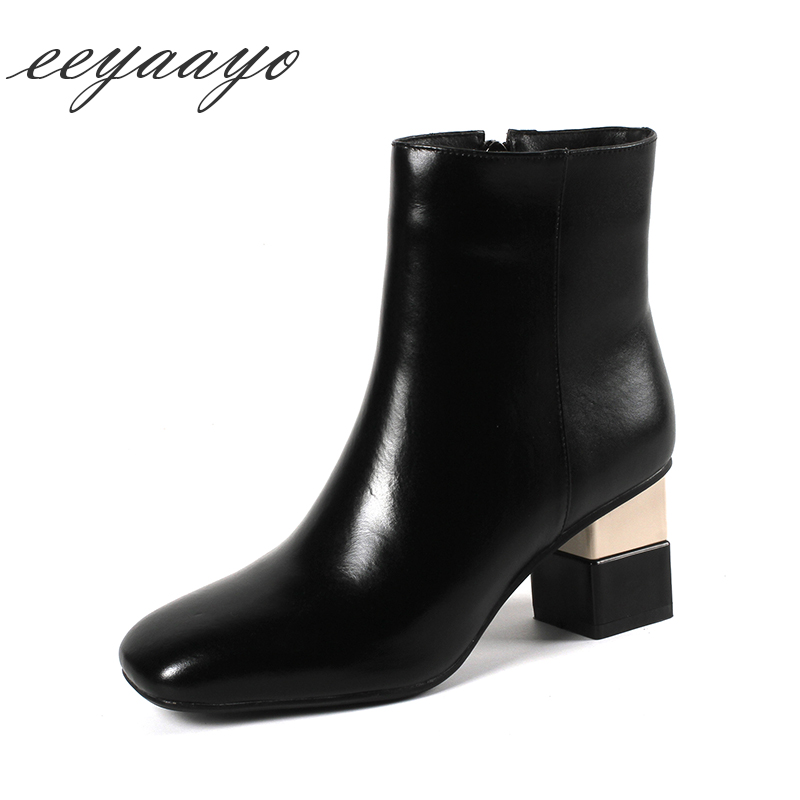 2019 New Winter Women Ankle Boots Genuine Leather High Heel Zip Square Toe Sexy Ladies Snow Boots Black Cow Leather Women Shoes картридж для принтера canon 8792b001 pfi 207 y