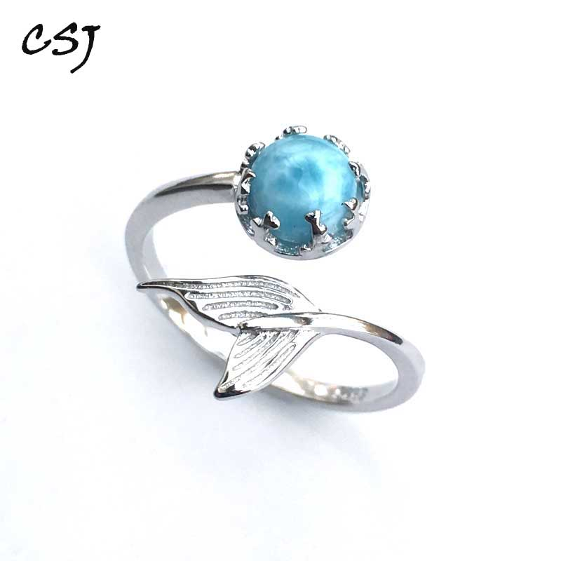 CSJ Natural Larimar Ring Round 6mm Adjustable Fine Jewelry Sterling 925 Silver Wedding Engagement Bands For Women Lady Girl Gift