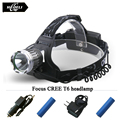 High Power glare headlight Cree xml u2 t6 18650 straight rechargeable flash light headlamp Waterproof head light Bike head lamp