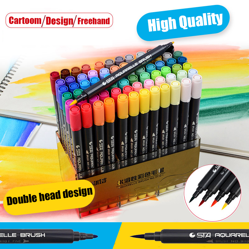 12/24/36/48/80 COLORS Dual Tips Watercolor Brush Art Marker Pens set with Fineliner tip For Graphic Drawing Manga Supplies 2520 vams luna instant tankless electric hot water heater faucet with led temperature display eu plug