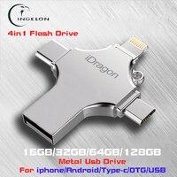 Ingelon 4in1 Usb Flash Drive 16gb 32gb Pendrive 128gb Metal Memoria Usb Stick Otg Type C