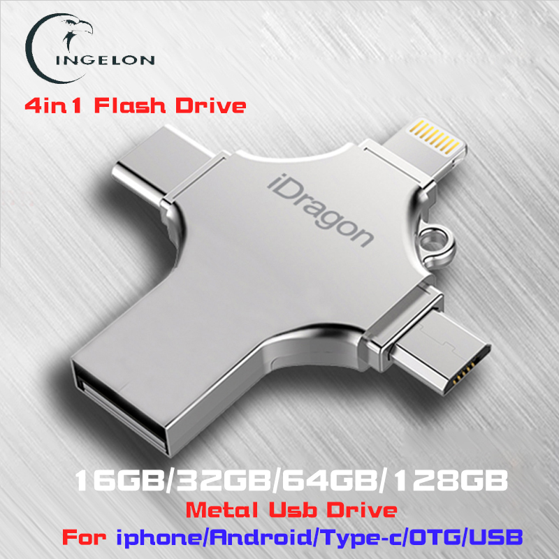 Ingelon 4in1 usb flash drive 16 GB 32 GB pendrive 128 GB otg idragon de metal usb para iphone ios ipad Macbook pen drive 64 GB usb