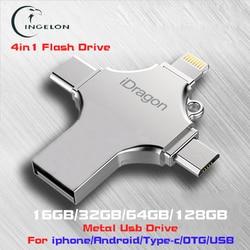 Ingelon 4in1 usb flash drive 256GB 16GB 32GB pendrive 128GB OTG idragon metal usb stick for iphone ios Photo Stick 64gb Cle usb