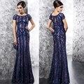 Azul marino atractivo ve a través del cordón lf2739 madre de la novia viste para la boda palabra de longitud vestido párr mae de noiva plus size MBD134