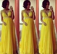 EXNY короткий рукав длинные желтые вечерние платья для беременных 2019 горячая Распродажа бисера Топ с блестками шифон беременных выпускного в