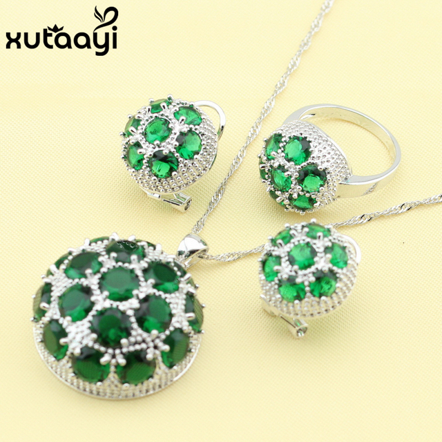 Made In China Fashion 925 Silver Jewelry Sets Huge Green Created Emerald Sweet Necklace Rings Earrings