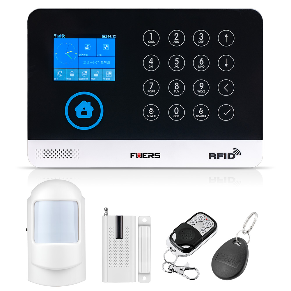 FUERS New WG11 433MHz Wireless GSM Home Alarm System LCD Touch Screen WiFi GSM Security System Suit RFID Motion PIR Door Sensor цена 2017