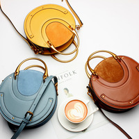 Vintage loading and unloading handle round women leather handbags rivet decorative frosted calf leather women messenger bags