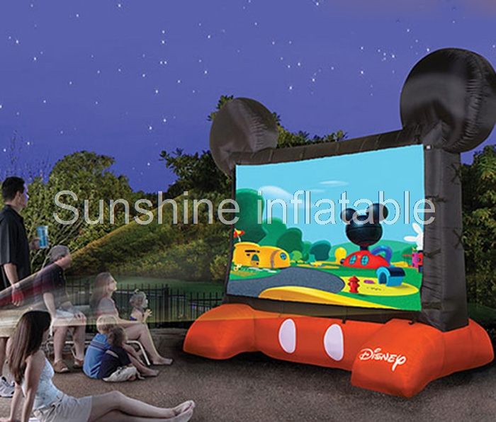 Customized cute mouse shaped outdoor giant inflatable movie screen projection screen for recreation