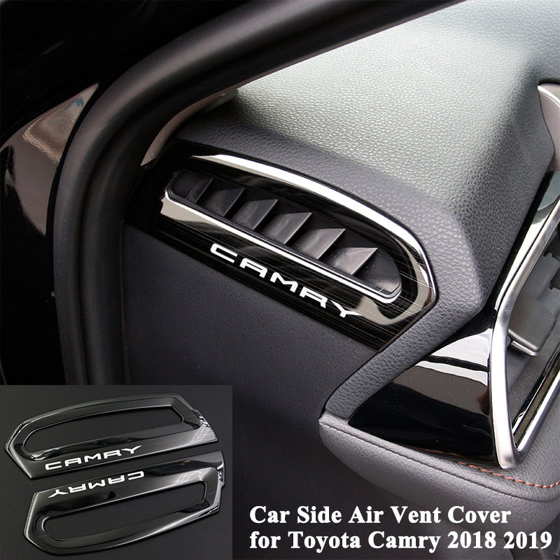 2pcs/set Car Side Air Vent Cover Outlet Decoration Frame Logo Trim Sticker Styling Car Accessories for Toyota Camry 2018 20192pcs/set Car Side Air Vent Cover Outlet Decoration Frame Logo Trim Sticker Styling Car Accessories for Toyota Camry 2018 2019
