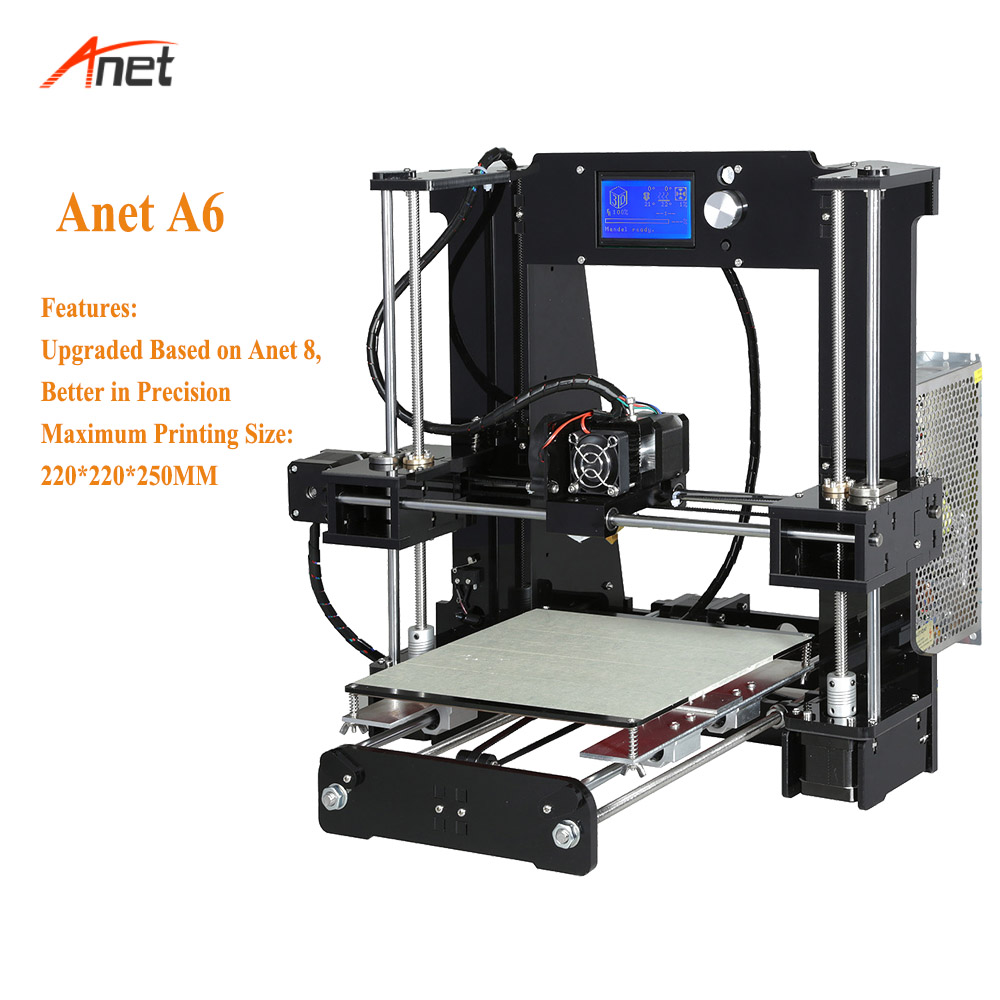 Anet A6 High Accuracy 12864 LCD Screen 3d House Priniter 220 220 250mm Printing Size Stampante
